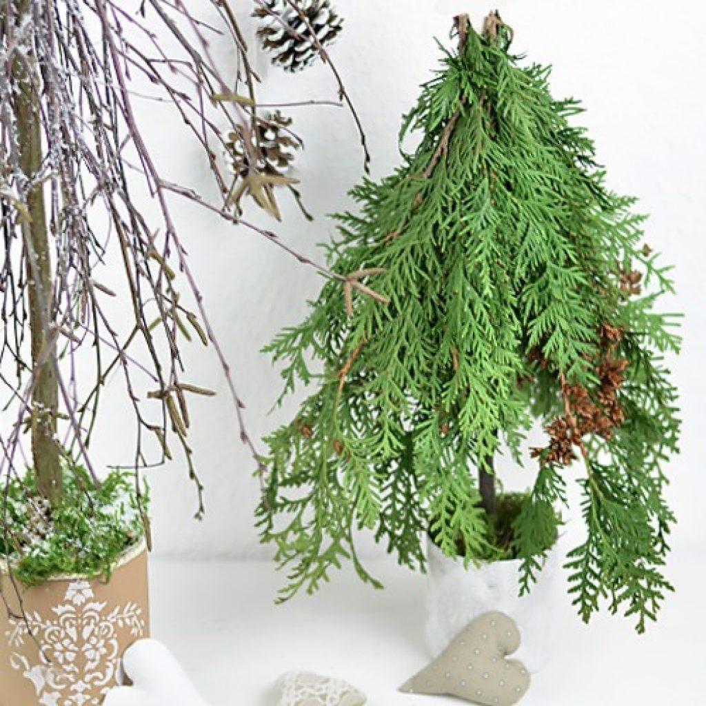 winterliche tischdeko selbst machen winterliche Tischdeko selbst machen: Bäume aus Zweigen und Ästen baeumchen deko winter 1024x1024