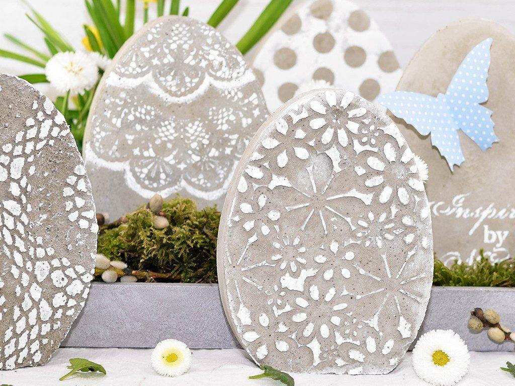 beton-eier und gießform DIY Osterdeko: Beton-Eier und Gießform selbst machen betoneier gieform selber bauen spitzendeckchen 1 1024x768