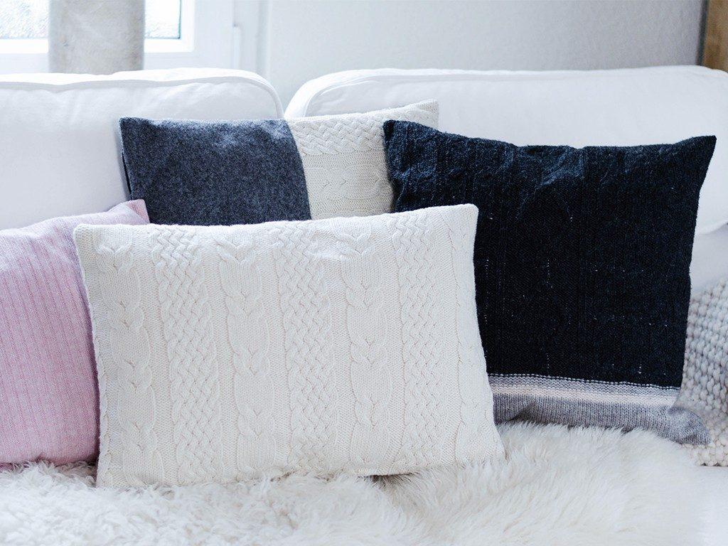 kissen aus strickpullover DIY – Kissen aus Strick-Pullover nähen | TRICK &TIPP für das Nähen von elastischen Stoffen kissen aus strickpullover 1 1024x768