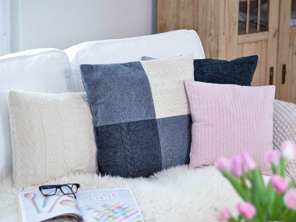 kissen aus strickpullover DIY – Kissen aus Strick-Pullover nähen | TRICK &TIPP für das Nähen von elastischen Stoffen kissen aus strickpullover sofa  1024x768