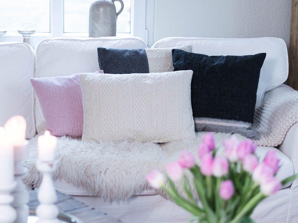 kissen aus strickpullover DIY – Kissen aus Strick-Pullover nähen | TRICK &TIPP für das Nähen von elastischen Stoffen kissen aus strickpullover tulpen 1024x768