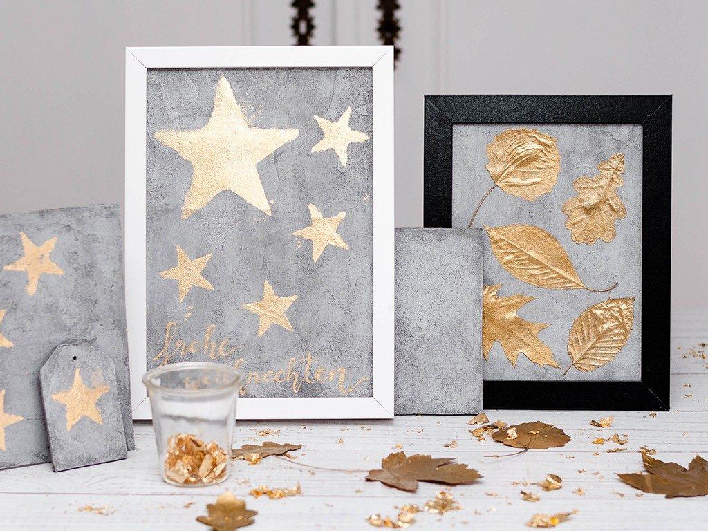 bild aus betoneffektpaste Herbst- & Weihnachtsdeko: Bild aus Betoneffektpaste mit goldenen Akzenten betonbild blaetter blattgold  1 1024x768