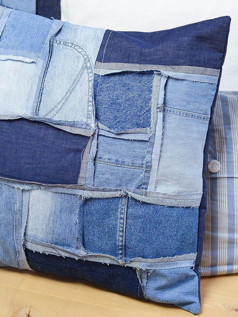 patchwork-kissenhülle DIY Patchwork-Kissenhülle aus Jeans nähen jeanskissen patchwork 16 768x1024