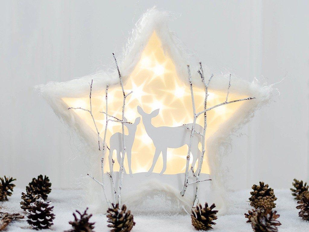 Diy Weihnachtsdeko.Diy Weihnachtsdeko Mit Sterneffekt Folie Winterlandschaft Mit Reh