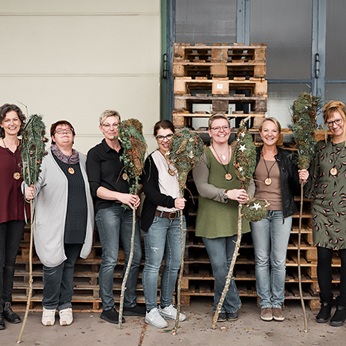 Worskhop Winterdeko Teilnehmerinnen  Home workshop winterdeko rueckblick
