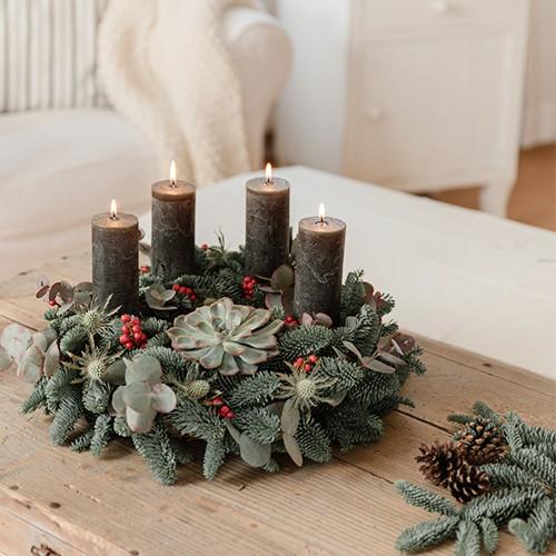 DIY: Adventskranz binden  Home adventskranz rot grn klassisch modern 2