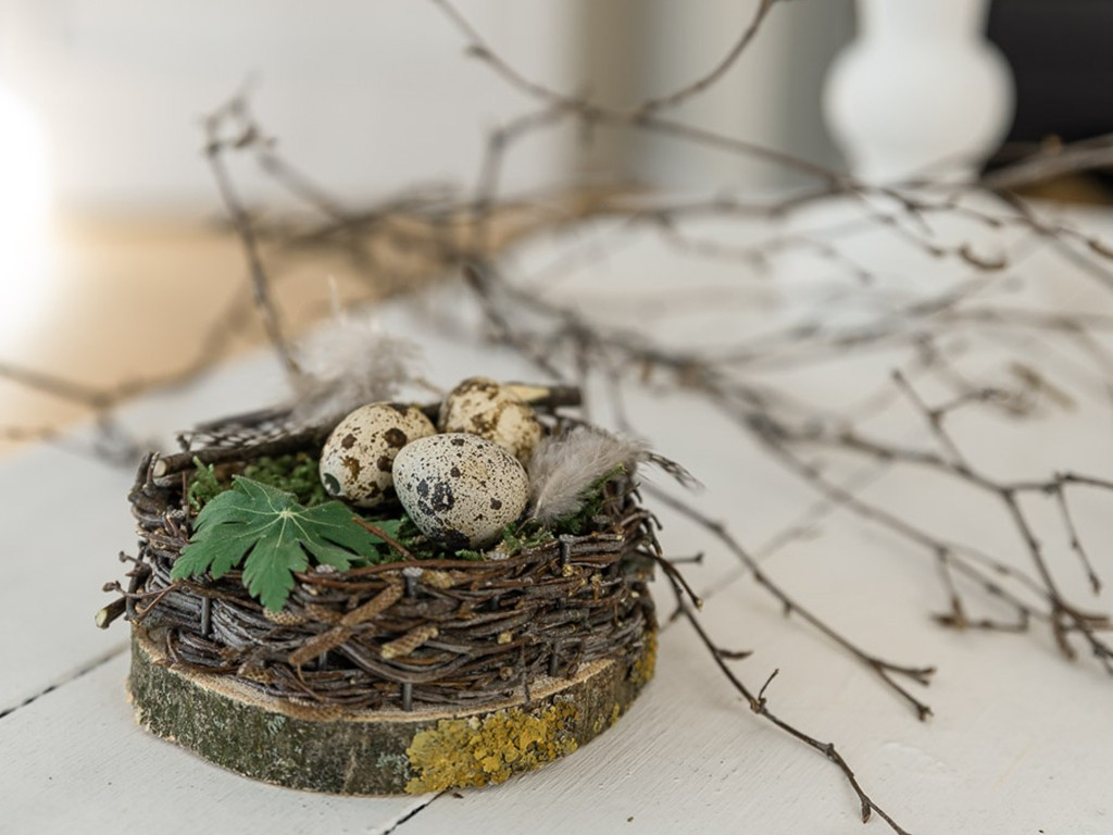 DIY Idee, Nest auf einer Holzscheibe für deine Frühlingsdeko [object object] Frühlings-Dekoglück während Corona: 3 kinderleichte DIY-Ideen zum selber machen fruehlingsdeko 3 diy ideen 33
