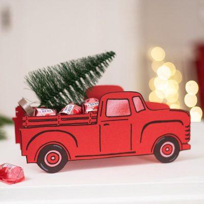 Weihnachts Pick up aus Tonkarton selber machen